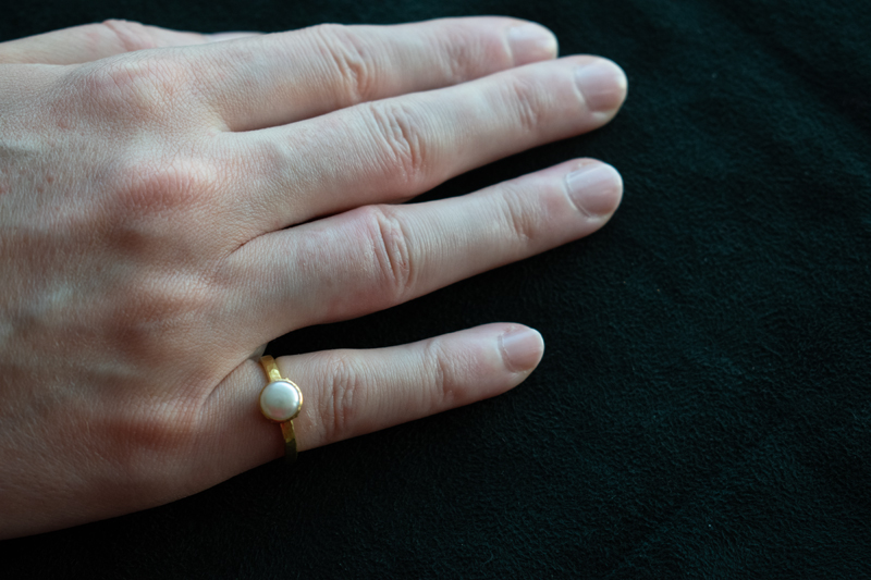 small white half pearl ring