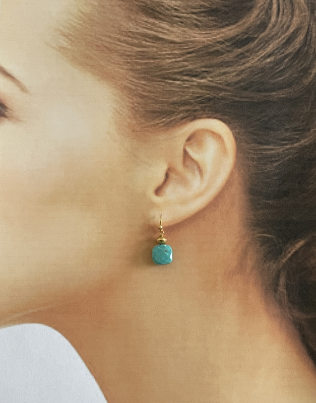 turquoise wire earrings modelled