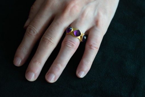 Three facet cut amethyst ring