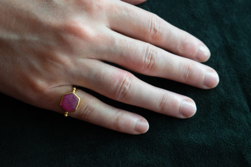 Ruby slice natural stone ring