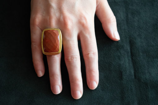Oblong facet cut jasper ring
