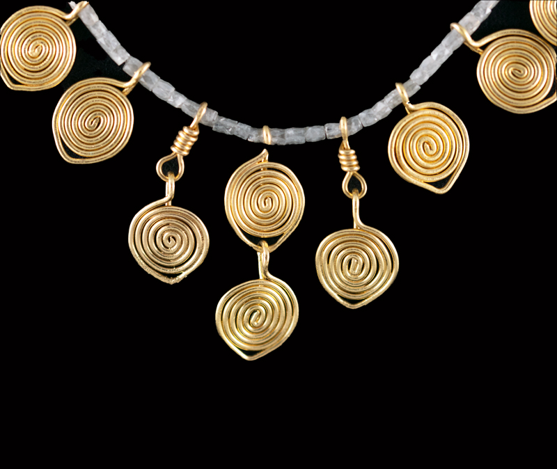 Diamond beads and 22ct gold necklace
