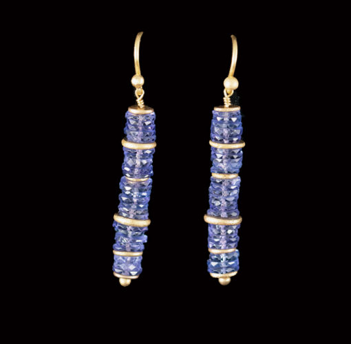 Tanzanite slice beads threaded on 22ct gold with gold sequins