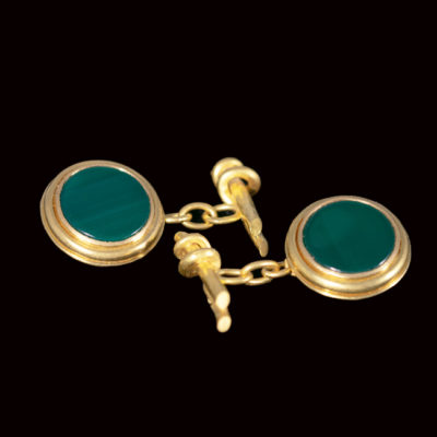 Dark green agate slices clufflinks 22ct gold