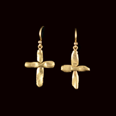 Small crosses made of 22ct gold, on wires
