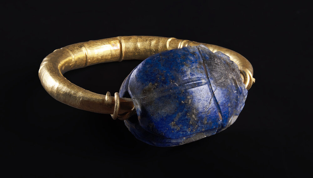 egyptian lapis scarab ring