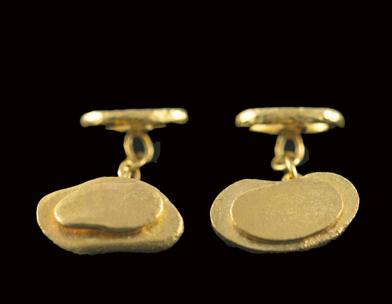 Oval Gold Flake And Ring Cufflinks