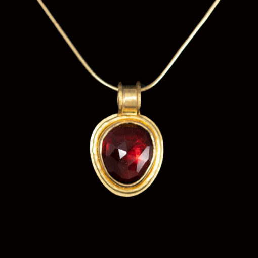 drop shape garnet pendant