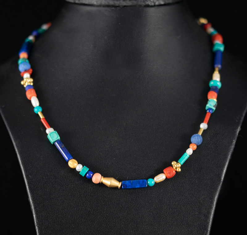 lapis turquoise and coral necklace
