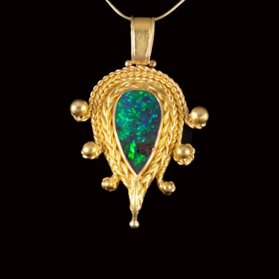 opal and 22ct gold pendant